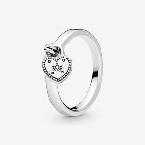 Pandora Heart Shaped Padlock Ring